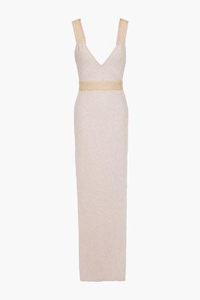 HERVÉ LÉGER فستان سهرة من قماش بونتي لون ميتاليك بلونين