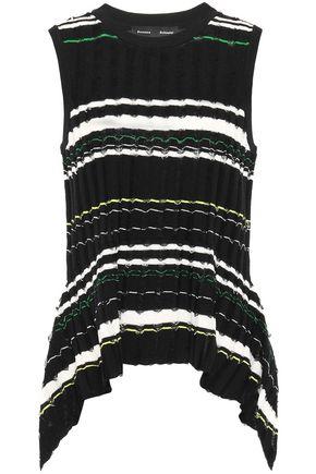 PROENZA SCHOULER Asymmetric striped fil coupé ribbed-knit top