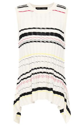 PROENZA SCHOULER Asymmetric striped fil coupé ribbed-knit top