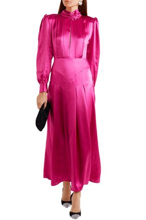 Alessandra Rich ALESSANDRA RICH WOMAN PLEATED SILK-SATIN MAXI DRESS FUCHSIA