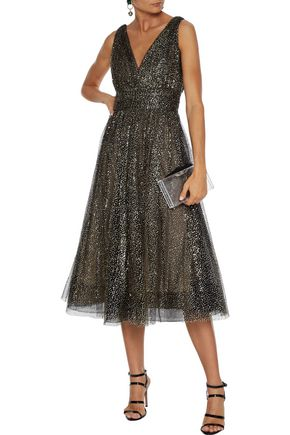 Gathered Glittered Tulle Midi Dress by Marchesa Notte
