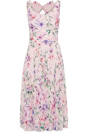 MARCHESA NOTTE Cutout fil coupé floral-print georgette dress