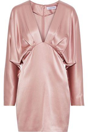 CUSHNIE Pleated draped silk-satin mini dress
