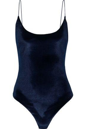 CUSHNIE Cutout stretch-velvet bodysuit