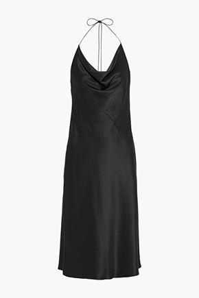 CUSHNIE Draped silk-satin halterneck slip dress