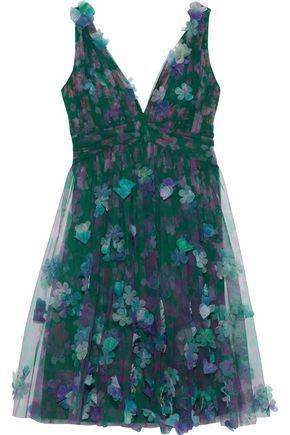 MARCHESA NOTTE Appliquéd pleated floral-print tulle mini dress