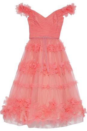 MARCHESA NOTTE Off-the-shoulder floral-appliquéd pleated tulle gown