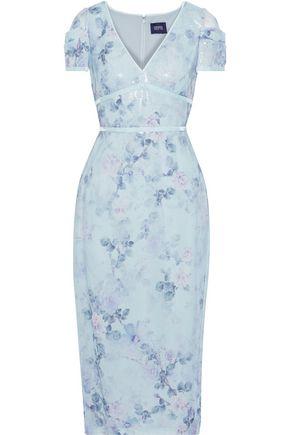 MARCHESA NOTTE Velvet-trimmed sequined floral-print chiffon midi dress