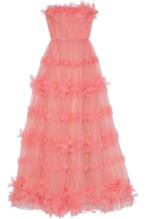 MARCHESA NOTTE Strapless floral-appliquéd pleated tulle gown