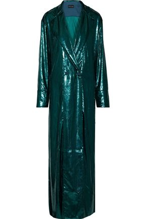 MICHAEL LO SORDO Satin-trimmed metallic velvet gown