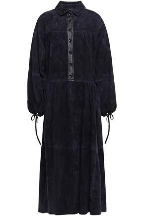 """JOSEPH فستان متوسط الطول على شكل قميص """"كلوديا"""" من الشامواه مزين بالجلد"""