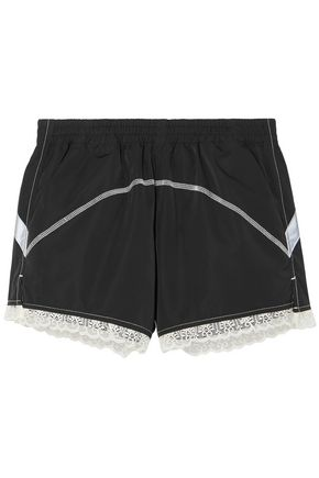 SANDY LIANG Lace-trimmed shell shorts