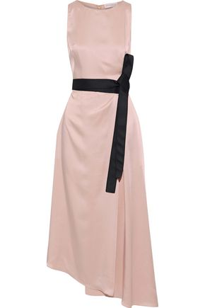 AMANDA WAKELEY Asymmetric wrap-effect satin midi dress