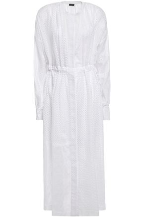 JOSEPH فستان متوسط الطول على شكل قميص من مزيج القطن بتطريز إنجليزي