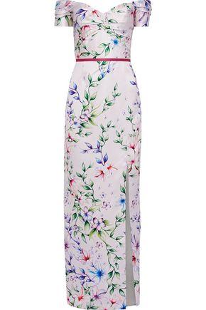 MARCHESA NOTTE Off-the-shoulder floral-print satin-piqué gown
