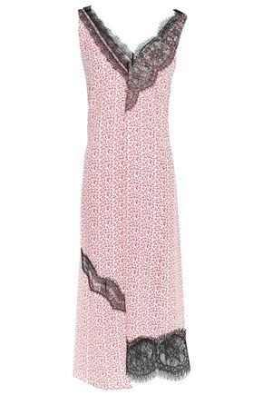 JOSEPH فستان متوسط الطول غير متماثل من قماش كريب دي شين الحريري المطبع بالورود مع تقليمات من الدانتيل