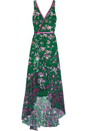 MARCHESA NOTTE Wrap-effect ruffled floral-print fil coupé chiffon gown