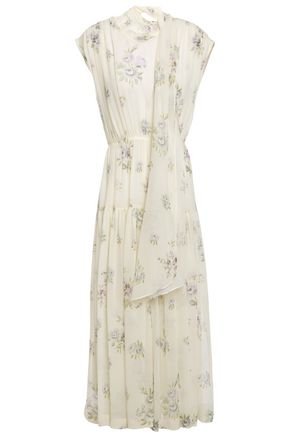 JOSEPH Draped floral-print silk-georgette midi dress