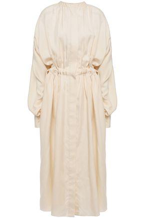 JOSEPH Oversized gathered cotton and silk-blend midi dress