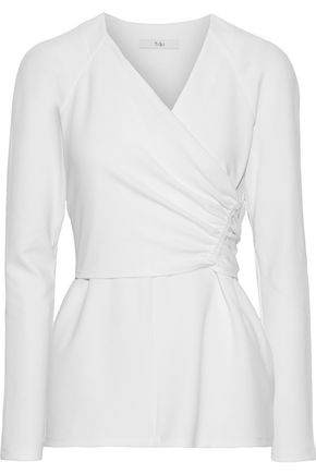 TIBI Wrap-effect ruched stretch-crepe top