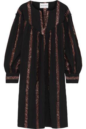 ANTIK BATIK Julia metallic striped cotton-gauze dress