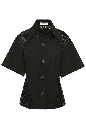 BEAUFILLE Lace-paneled woven shirt