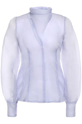 BEAUFILLE Pussy-bow layered silk-organza blouse