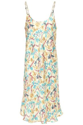 PACO RABANNE Chain-trimmed floral-print satin slip dress