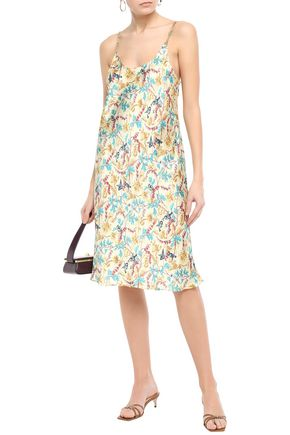 PACO RABANNE Chain-trimmed floral-print satin slip dress