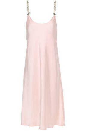 PACO RABANNE Chain-trimmed satin slip dress