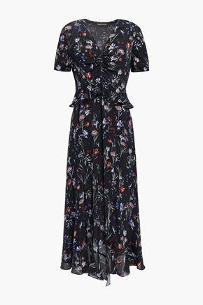 MARKUS LUPFER Asymmetric ruffle-trimmed floral-print crepe midi dress