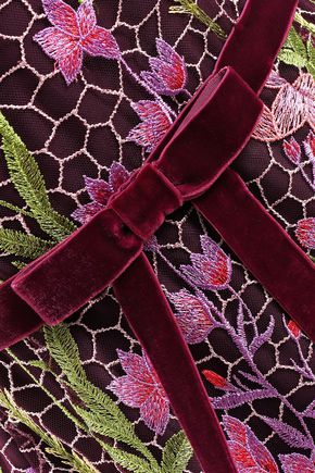 MARCHESA NOTTE レースパネル ベルベットトリム リボン付き 刺繍入り チュール ミディワンピース
