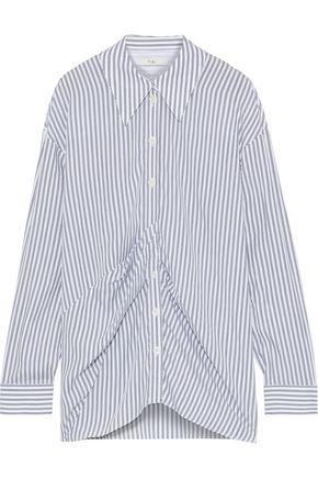 TIBI Pleated striped Tencel shirt