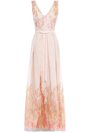 MARCHESA NOTTE Pleated bow-embellished metallic fil coupé cloqué gown