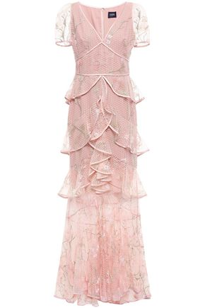 MARCHESA NOTTE Tiered ruffled embroidered tulle gown