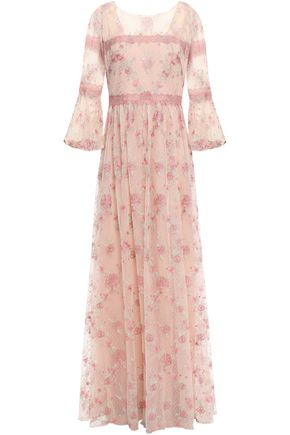 MARCHESA NOTTE Lace-trimmed embroidered metallic Swiss-dot tulle gown