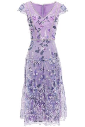 MARCHESA NOTTE Embroidered floral-print organza dress