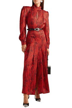 Alessandra Rich ALESSANDRA RICH WOMAN LEOPARD-PRINT SILK-JACQUARD MAXI DRESS RED