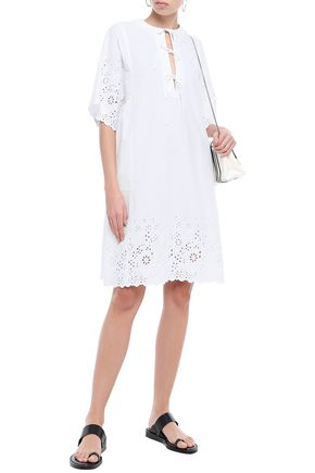 Mcq By Alexander Mcqueen Bow-detailed Broderie Anglaise Cotton Mini Dress In White