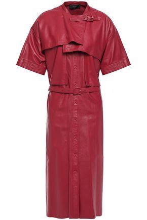 JOSEPH Layered belted leather dress