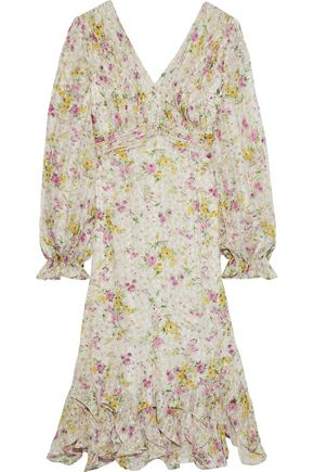 MIKAEL AGHAL Cutout pleated floral-print georgette dress