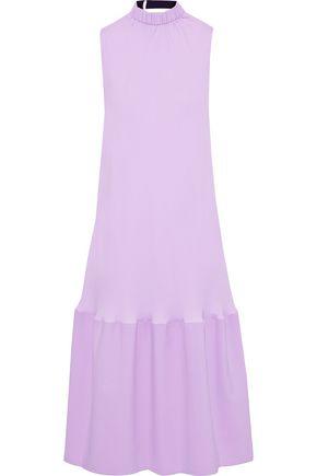 TIBI فستان متوسط الطول بتصميم ملموم من الجيرسي مع أجزاء من الكنفا
