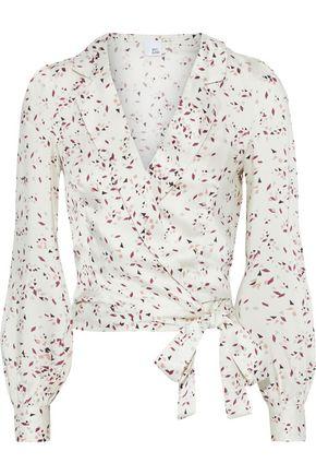 IRIS & INK Meadow printed satin-twill wrap blouse