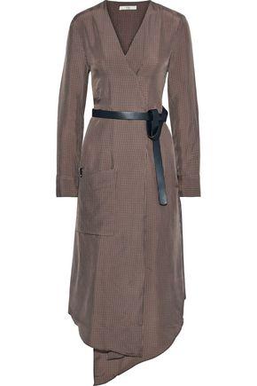 "TIBI فستان متوسط الطول ""وولدن"" بتصميم ملتفّ من التويل الساتان بنقش مربعات"