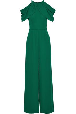 MIKAEL AGHAL Cold-shoulder draped crepe wide-leg jumpsuit