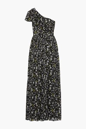 MIKAEL AGHAL One-shoulder pleated floral-print burnout georgette gown