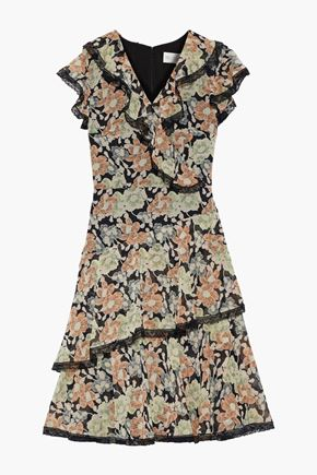 MIKAEL AGHAL Wrap-effect ruffled floral-print georgette dress