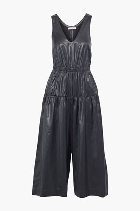 TIBI Cropped ruched coated-shell wide-leg jumpsuit