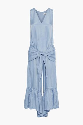 TIBI Cropped tie-front satin-twill wide-leg jumpsuit