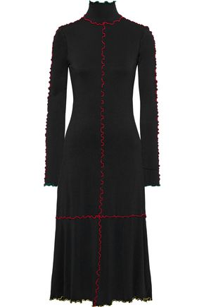 PROENZA SCHOULER Ruffle-trimmed jersey turtleneck midi dress